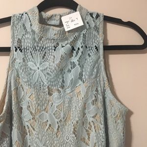 Tops - Lace Overlay Sleeveless Top